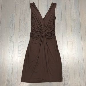 London Style Dresses - London Style Brown Ruched V Neck Stretchy Dress